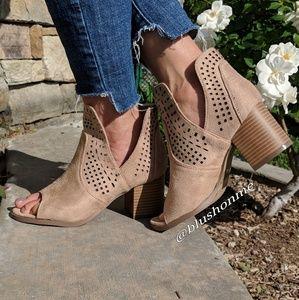 Shoes - Peep Toe Side Cut Booties